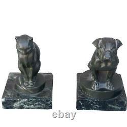 Paire de serre livres au chien et au chat Art déco Leverrier