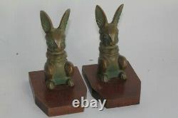 Paire de serre-livres bronze Lapin Hippolyte MOREAU (52407)