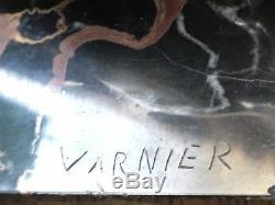 Paire serre-livres bouquetin BRONZE ARGENTE art deco signé VARNIER bookend