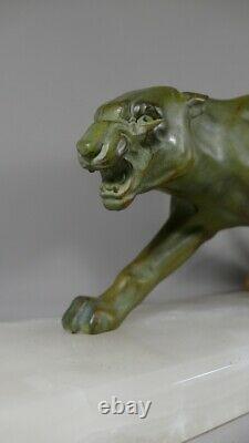 Panthère Art Déco En Métal à Patine Bronze, Socle En Onyx, époque 1930