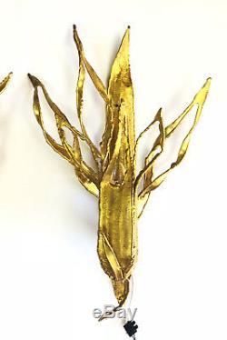 Paul Moerenhout Appliques Luminaires Brutalistes Des Années 70 En Bronze Doré