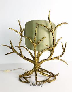 Paul Moerenhout Lampe Brutaliste Des Années 70 En Bronze Doré H 50cm