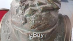 Pendule 1930 Emile Bruchon signée socle en marbre rouge sonne, et tourne