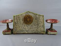 Pendule Art Déco Bronze marbre mantel clock orologio reloj uhr pendulum