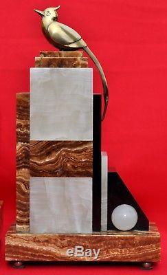 Pendule Art Déco Marbre & Bronze argenté/doré Signé F. H DANVIN Années 1920