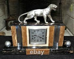 Pendule Art Déco marbre et panthère bronze HUGUES french clock