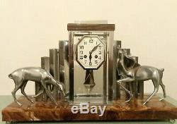 Pendule Horloge Michel Decoux Art Deco Onyx Et Bronze chromé Signée