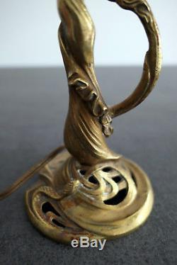 Petite Lampe Mini Tulipe Daum Nancy Pied Bronze Art Deco/nouveau Pte De Verre