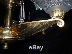 Petitot Lustre Art Deco En Bronze Verreries Ezan A 10 Lumieres