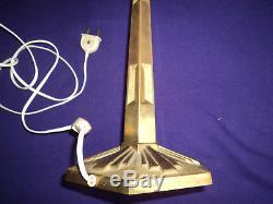 Pied De Lampe Art Deco Bronze Muller Degue Tulipe Obus Paris Star 1930