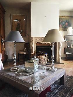Pied De Lampe En Bronze Argenté Style Louis XVI À Fût Cannelés De 79 CM Haut