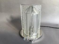 Pierre Davesn Lampe Verre Pressé Moulé Et Bronze Nickelé Art Deco Vers 1930