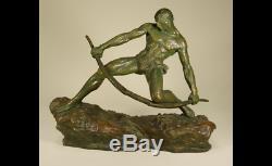 Pierre LE FAGUAYS Archer bandant son arc Tres grand bronze signe