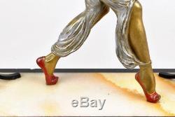 Pierre Le Faguays, Danseuse Du Harem, Bronze Polychrome, 20ème Siècle, Art Déco