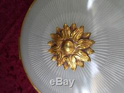 Plafonnier Art Deco Bronze Dore Louis XVI
