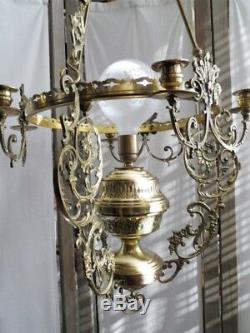 Plafonnier Suspension Lustre Bronze Dore Laiton Cuivre Opaline Style Louis XV
