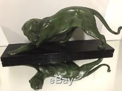 Plagnet Panthere Sculpture Marbre Patine Bronze Art Deco Fonte d Art Félin