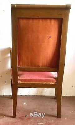 Quatre fauteuils style empire en acajou ornementation de bronze. XX siècle