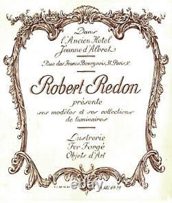 R. Redon & Muller Frères Lustre Art Déco Bronze Nickelé & Plaques Verre Pressé