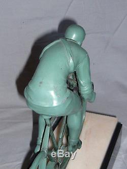 RARE COUREUR CYCLISTE BRONZE SCULPTURE ART DECO 1930 VELO CYCLE, MAX LEVERRIER
