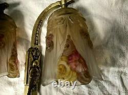 RARE Paire d'applique signée Jean ROBERT art déco1930 verre moulé bronze lustre