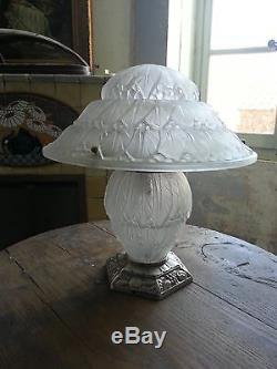 RARE importante lampe champignon Art Deco signée HETTIER et VINCENT pied bronze