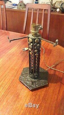 RARE pied de lampe moderniste Art Deco en fer forgé et bronze, 1930 lamp Daum