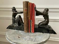 Rare Ancien Serre Livres Art Deco En Bronze Signe Limousin Annee 30