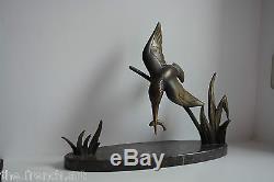 Rare Bronze Signe Limousin Dautrive Oiseau Art Deco