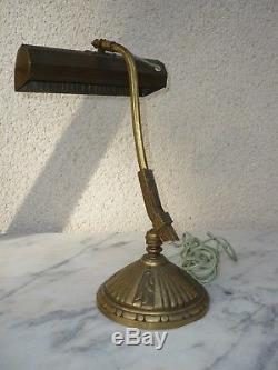Rare Lampe Art Deco Articulee De Bureau 1930 Bronze Monix Paris. Pur Jus