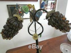Rare Lampe Raisin Murano En Fer Forge Et Bronze Parfait Etat Annees 70