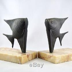 Rare Paire SERRE LIVRE Bronze DIRENN PoissonART DECO fish bookends/1930/sandoz