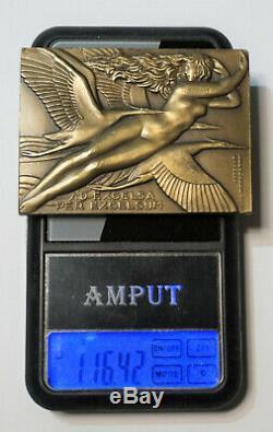 Rare Plaquette, Medaille Art Deco 1930, Armee De L'air, Par Raymond Delamarre, Femme
