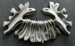 Rare boucle de ceinture bronze argenté Line Vautrin Art Déco bijoux