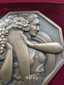 Rare exceptionnelle Medaille art deco Paul Turin Marianne Abondance Bronze