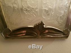Rare grande paire appliques verre ART DECO bronze argenté sconce bracket Degué