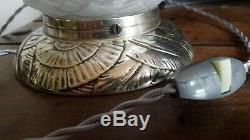 Rare lampe ART Déco BOULE en bronze argentée no muller degué