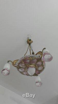 Rare lustre art deco Muller 7 verreries monture bronze idem Degué Daum Schneider