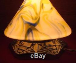 Rare veilleuse Art Deco 1930 verre de Clichy lampe obus socle bronze skyscraper