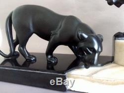 Rochard Panthere En Bronze Et Marbre Art Deco 1930
