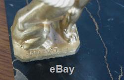 SPHINX, paire de serre-livres Frecourt, bronze doré et marbre, sphinx, FRECOURT