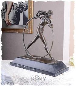 STATUE EN BRONZE 44cm STATUETTE STYLE ART NOUVEAU DECO SCULPTURE FEMME NUE