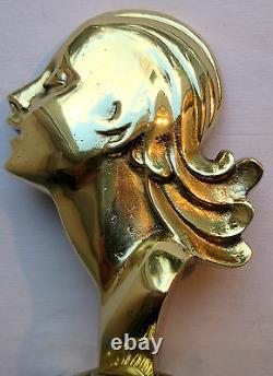 Sculpture ART DECO, bronze massif doré Buste de femme sur socle, serre-livre