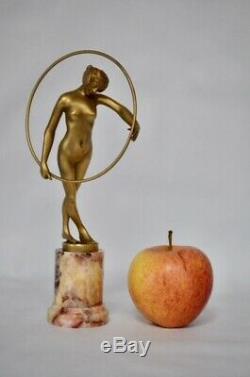 Sculpture Art Deco bronze danseuse au cerceau louis Sosson