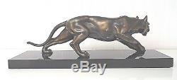 Sculpture / Statue / Epoque Art Deco / Panthere Patine Bronze