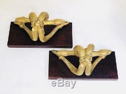 Serre Livre En Bronze Doré Double Serpent Deco French Art Empire Bookend Gilt