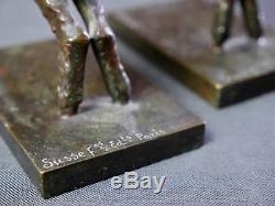 Serre-Livres Art Déco Agneau Bronze par Paul Silvestre, 1930 France