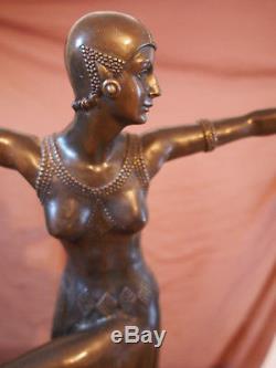 Signée Chiparus Bronze Statue, Art Déco Danseuse Sculpture Deco