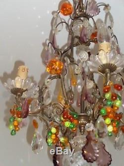 Splendide Lustre Cage Ancien Bronze Pampilles Coloré Murano Fruit Goutte Grappe