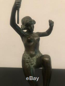 Statue Ancienne Bronze François Andre Clemencin Danseuse Art Deco